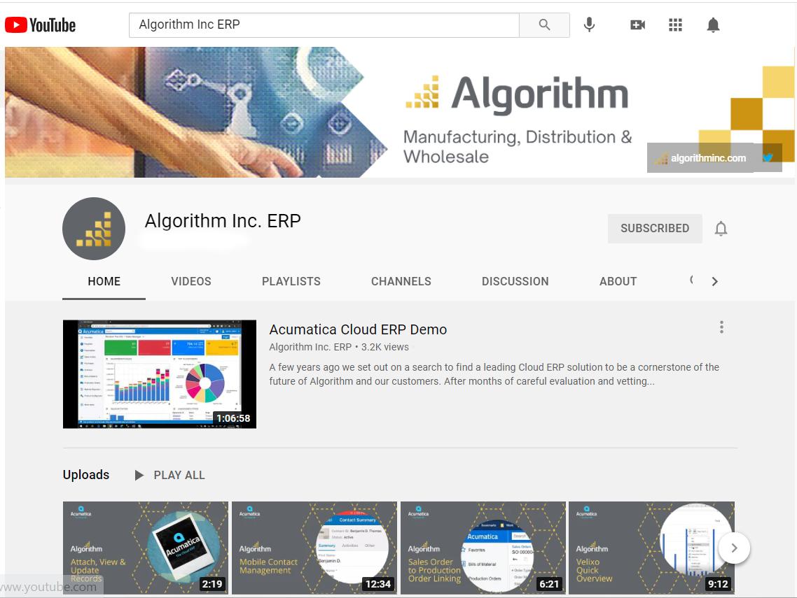 Algorithm ERP YouTube