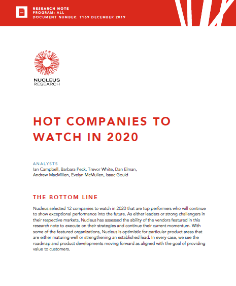 Nucleus Research: Hot Companies to Watch in 2020