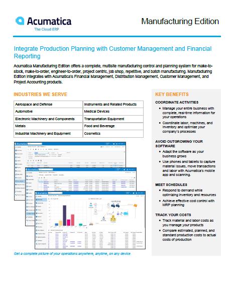 Acumatica Manufacturing Edition Data Sheet