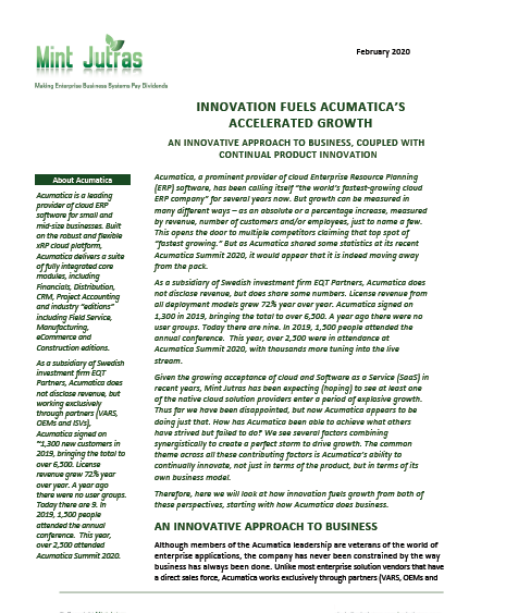 Mint Jutras Research: Innovation Fuels Acumatica's Growth