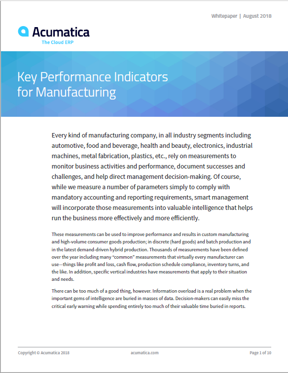 Key Performance Indicators for Manufacturing