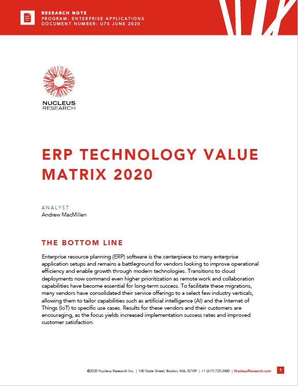 ERP Technology Value Matrix 2020