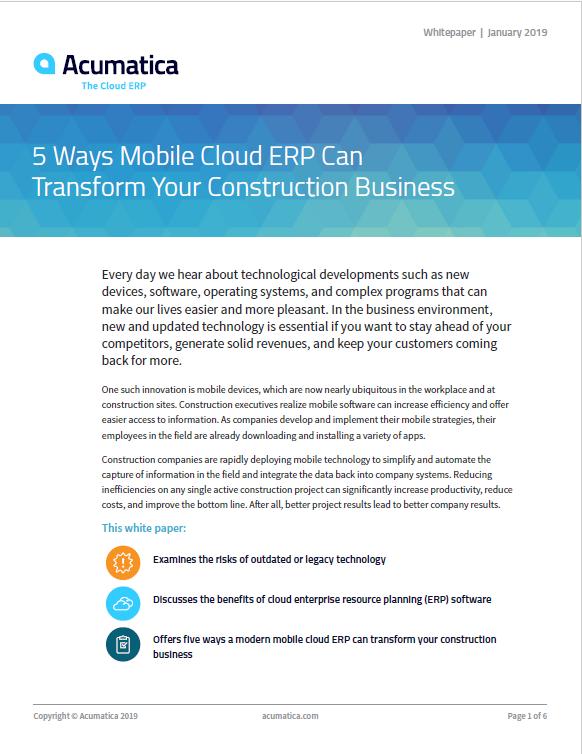 5 Ways Mobile Cloud ERP Can Transform Your Construction Business