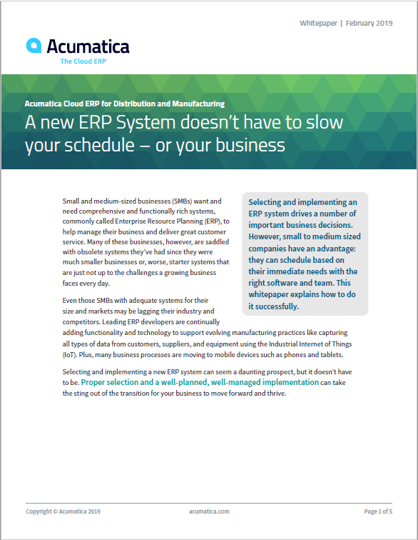 A New ERP System Doesn't Have To Slow Your Schedule